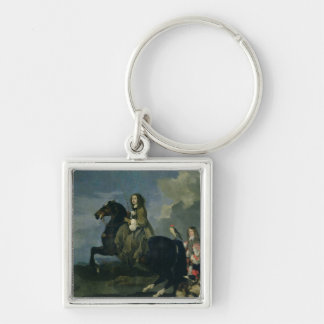 Christina of Sweden (1626-89) on Horseback, 1653 ( Silver-Colored Square Keychain