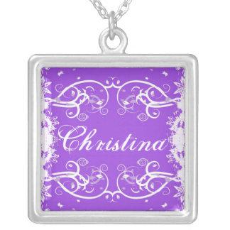 """Christina"" on purple flourish swirls necklace"
