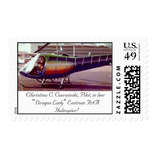 CHRISTINA PILOT IN HER ENSTROM F28A HELICOPTER POSTAGE