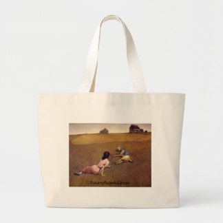 Christina's World With Wimsey the Bloodhound Large Tote Bag