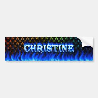 Christine blue fire and flames bumper sticker desi car bumper sticker