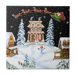 Christine ,ceramic,tile,Santa,Claus Tile