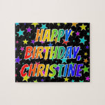"[ Thumbnail: ""Christine"" First Name, Fun ""Happy Birthday"" Jigsaw Puzzle ]"
