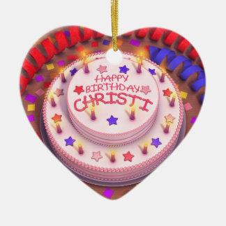 Christi's Birthday Cake Ceramic Ornament
