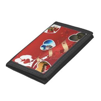 Christma Romantic Black  TriFold Nylon Wallet