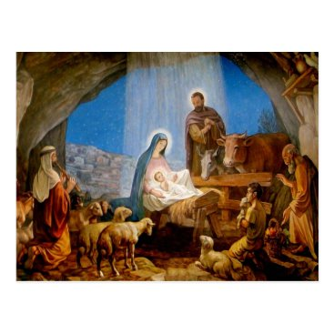 Christmas Themed Christma short, the stable in Betlehem Postcard