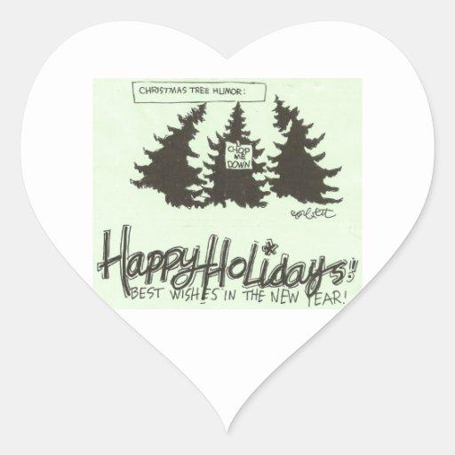 Christman Tree Humor: 'CUT ME DOWN!' Heart Sticker