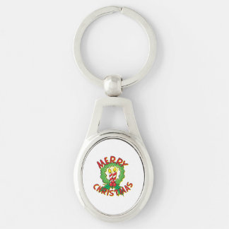 Christmas5.png Silver-Colored Oval Metal Keychain