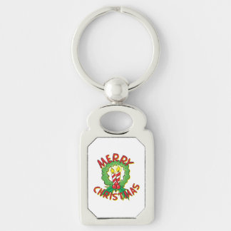 Christmas5.png Silver-Colored Rectangular Metal Keychain
