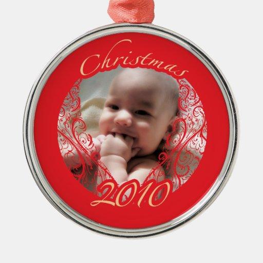 Christmas 2010 round metal christmas ornament