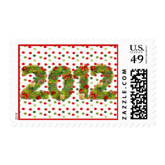 christmas 2012 green red tree decorations postage
