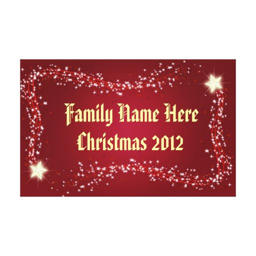 Christmas 2012 Twinkling Stars Frame Personalised Canvas Print