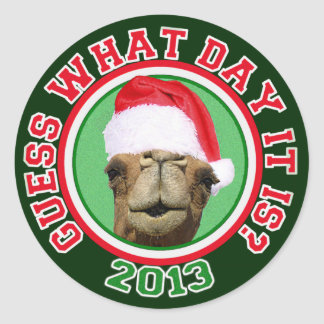 Christmas 2013 Hump Day Camel Guess What Day It Is Classic Round Sticker