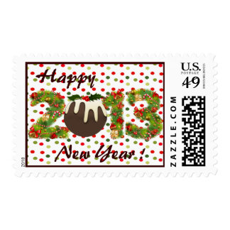 christmas 2013 pudding green red  new year postage