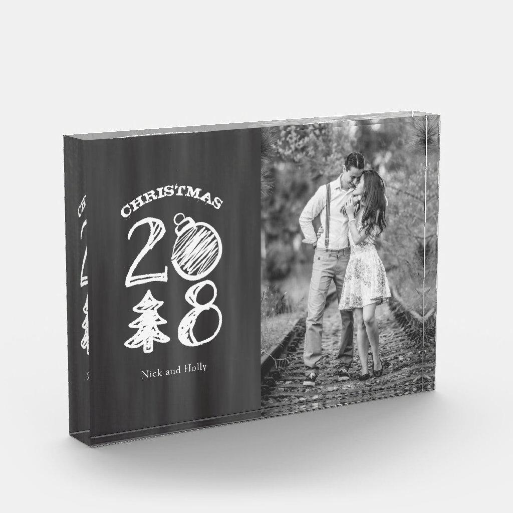 Christmas 2018 Chalkboard Doodle Photo Block