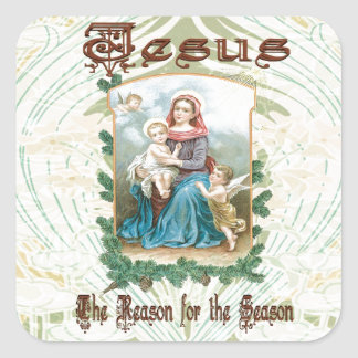 Christmas 2 - Jesus is the Reason for Season Square Sticker