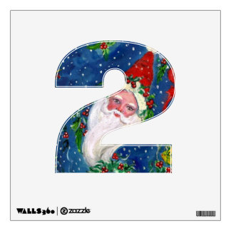 CHRISTMAS 2 NUMBER  / SANTA CLAUS WITH RED RIBBON WALL STICKER