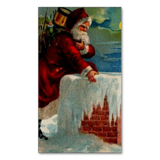 CHRISTMAS 33 - Santa Coming Down the Chimney ~.jpg Magnetic Business Cards (Pack Of 25)