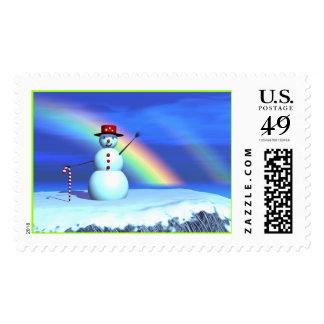 Christmas 3D Snowman Postage Stamp
