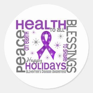 Christmas 4 Alzheimer's Disease Snowflakes Classic Round Sticker