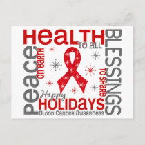 Christmas 4 Blood Cancer Snowflakes Holiday Postcard