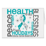 Christmas 4 Cervical Cancer Snowflakes Greeting Card