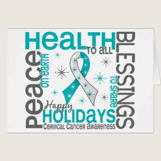 Christmas 4 Cervical Cancer Snowflakes Card