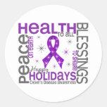 Christmas 4 Crohn's Disease Snowflakes Round Sticker