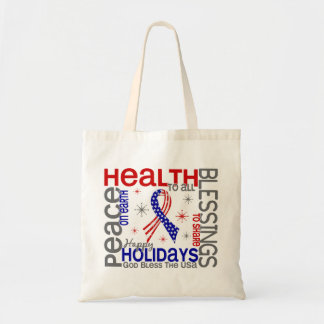 Christmas 4 God Bless The USA Patriotic Canvas Bags