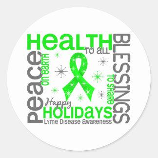 Christmas 4 Lyme Disease Snowflakes Classic Round Sticker