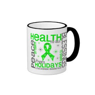 Christmas 4 Lyme Disease Snowflakes Ringer Coffee Mug