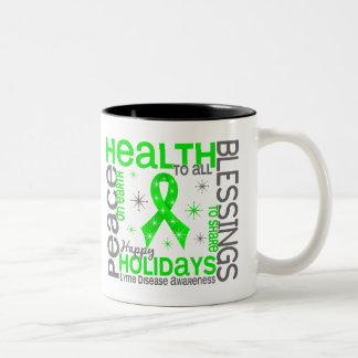 Christmas 4 Lyme Disease Snowflakes Two-Tone Coffee Mug