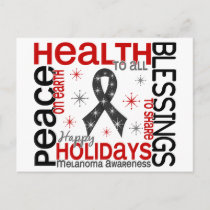 Christmas 4 Melanoma Snowflakes Holiday Postcard