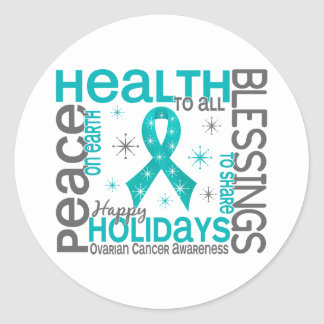 Christmas 4 Ovarian Cancer Snowflakes Round Sticker
