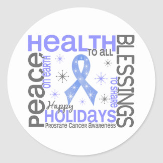 Christmas 4 Prostate Cancer Snowflakes Stickers