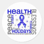 Christmas 4 Rheumatoid Arthritis Snowflakes Round Sticker