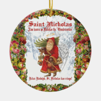 Christmas 4 Saint Nicholas the Wonderworker Double-Sided Ceramic Round Christmas Ornament