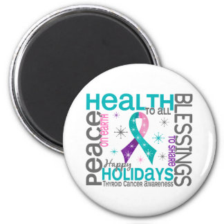 Christmas 4 Thyroid Cancer Snowflakes 2 Inch Round Magnet