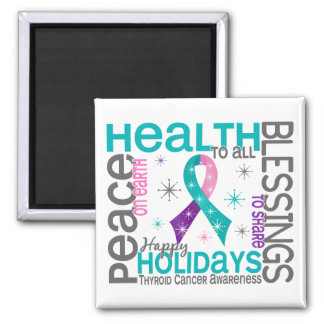 Christmas 4 Thyroid Cancer Snowflakes 2 Inch Square Magnet