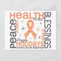 Christmas 4 Uterine Cancer Snowflakes Holiday Postcard