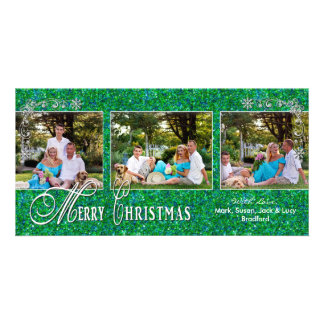 CHRISTMAS 4 X 8 PHOTO CARD - Glitzy Green