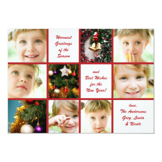 Christmas 9-Photo Graph Holiday Card Personalized Invitations