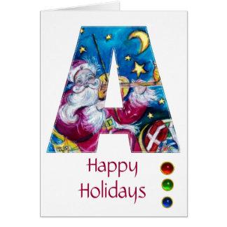 CHRISTMAS A LETTER INSPIRED SANTA MONOGRAM GREETING CARD
