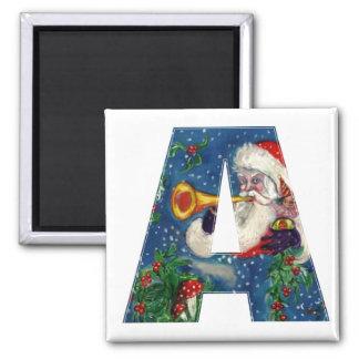 CHRISTMAS A LETTER / SANTA BUGLER MONOGRAM MAGNET