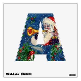CHRISTMAS  A LETTER  / SANTA  BUGLER MONOGRAM WALL STICKER