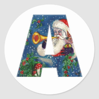 CHRISTMAS A LETTER / SANTA CLAUS BUGLER CLASSIC ROUND STICKER