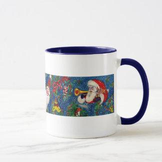 CHRISTMAS A LETTER / SANTA CLAUS BUGLER MONOGRAM MUG