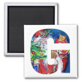 CHRISTMAS A LETTER / SANTA WITH CHRISTMAS TREE 2 INCH SQUARE MAGNET