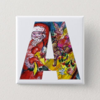 CHRISTMAS A LETTER  / SANTA  WITH GIFTS MONOGRAM BUTTON
