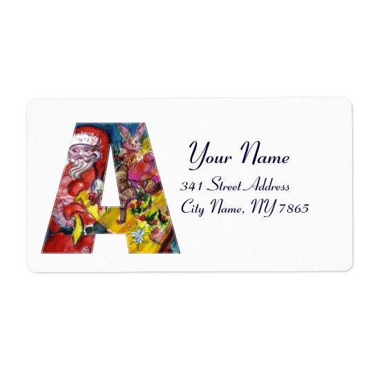 CHRISTMAS A LETTER  / SANTA  WITH GIFTS MONOGRAM LABEL